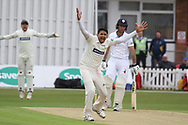 Muhammad Abbas appeals for LBW against Wayne Madsen during the Specsavers County Champ Div 2 match between Leicestershire County Cricket Club and Derbyshire County Cricket Club at the Fischer County Ground, Grace Road, Leicester, United Kingdom on 27 May 2019.
