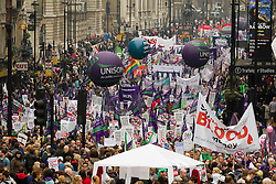 "© under license to London News Pictures. 25/03/2011: Thousands march along Whitehall during protests against government cuts. Credit should read ""Joel Goodman/London News Pictures""."