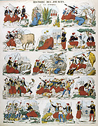 History of the Zouaves, French infantry regiments first raised in Algeria in 1831.  Popular French hand-coloured woodcut.