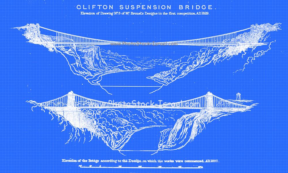"""Clifton Suspension Bridge (Opened 1864) from the book The life of Isambard Kingdom Brunel, civil engineer. By Isambard Brunel Published in London by Longmans, Green in 1870. Isambard Kingdom Brunel FRS MInstCE (9 April 1806 – 15 September 1859) was an English civil engineer who is considered """"one of the most ingenious and prolific figures in engineering history,"""" """"one of the 19th-century engineering giants,""""and """"one of the greatest figures of the Industrial Revolution, [who] changed the face of the English landscape with his groundbreaking designs and ingenious constructions."""" Brunel built dockyards, the Great Western Railway (GWR), a series of steamships including the first propeller-driven transatlantic steamship, and numerous important bridges and tunnels. His designs revolutionised public transport and modern engineering."""
