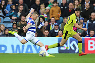 Queens Park Rangers forward Conor Washington (9) shoots on goal during the EFL Sky Bet Championship match between Queens Park Rangers and Rotherham United at the Loftus Road Stadium, London, England on 18 March 2017. Photo by Matthew Redman.
