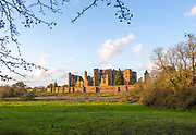 Winter evening light on walls of Kenilworth Castle, Warwickshire, England, UK