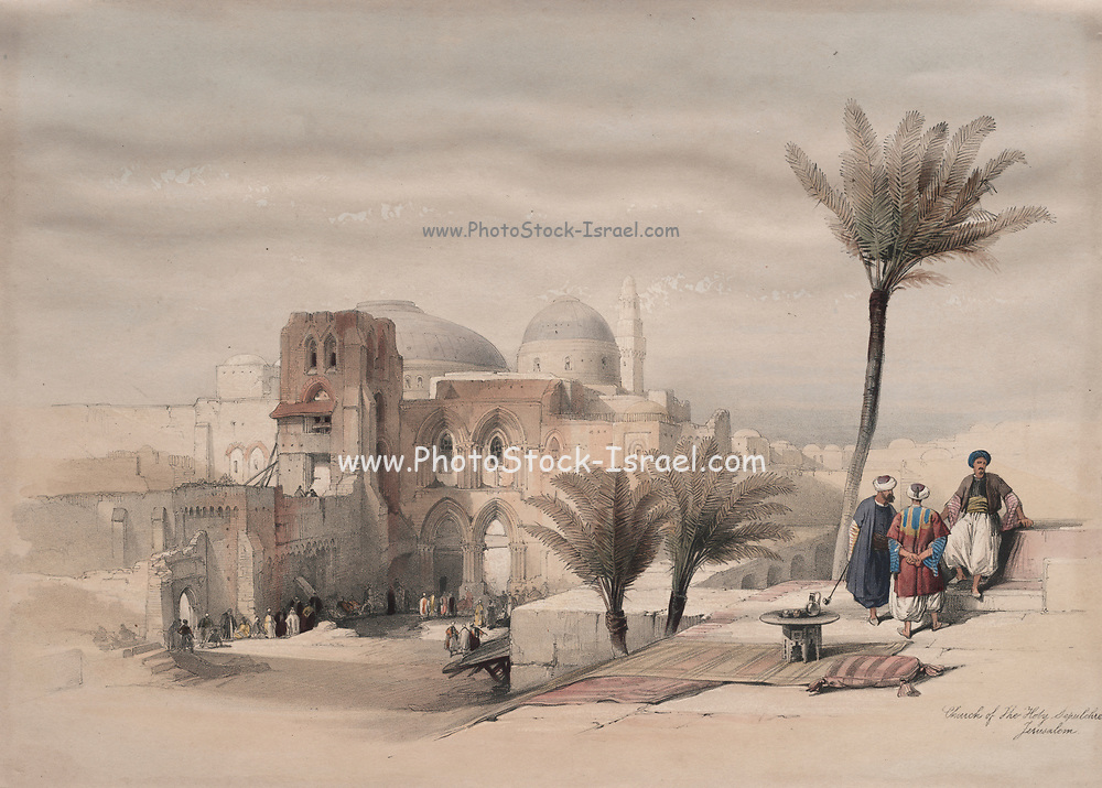 Exterior of the Church of the Holy Sepulchre, Jerusalem, Color lithograph by David Roberts (1796-1864). An engraving reprint by Louis Haghe was published in a the book 'The Holy Land, Syria, Idumea, Arabia, Egypt and Nubia. in 1855 by D. Appleton & Co., 346 & 348 Broadway in New York.