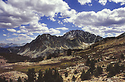 White Cloud Mountais; Castle Peak & Serrated Ridge from Windy Devil Pass.  Idaho.