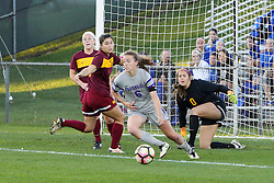 04 November 2016:  Bronwyn Boswell(6) during an NCAA Missouri Valley Conference (MVC) Championship series women's semi-final soccer game between the Loyola Ramblers and the Evansville Purple Aces on Adelaide Street Field in Normal IL