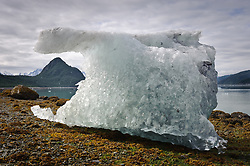 """An iceberg from the McBride Glacier is stranded on a Muir Inlet beach during low tide near Van Horn Ridge. In the background is """"The Nunatak."""" Muir Inlet is located in Glacier National Park and Preserve in southeast Alaska."""