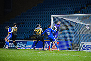 GOAL 4-0 Gillingham Midfielder Olly Lee (11) scores his 2nd of the game as the ball flies past Crewe Alexandra goalkeeper Dave Richards (13) into the back of the net during the EFL Sky Bet League 1 match between Gillingham and Crewe Alexandra at the MEMS Priestfield Stadium, Gillingham, England on 26 January 2021.