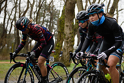 Alexis Ryan (USA) and Trixi Worrack (GER) at Driedaagse Brugge - De Panne 2018 - a 151.7 km road race from Brugge to De Panne on March 22, 2018. Photo by Sean Robinson/Velofocus.com