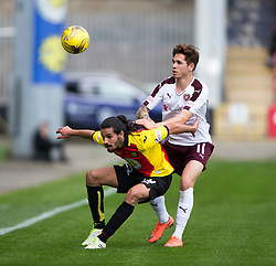 Partick Thistle's Ryan Edwards and Hearts Sam Nicholson. half time - Partick Thistle 0 v 1 Hearts, Ladbrokes Premiership match played 27/89/2016 at Firhill.