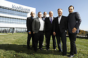 SHOT 10/31/18 11:34:07 AM - Mediacom Communications Corporation is a cable television and communications provider headquartered in Chester, New York. Founded in 1995 by Rocco B. Commisso, it serves primarily smaller rural markets in the Midwest and Southern United States. In the group photo Mediacom's Jack Griffin, Mark Stephan, Tom Larsen, Ruben Martino, Rocco Commisso and CoBank RM Gary Franke. (Photo by Marc Piscotty © 2018)