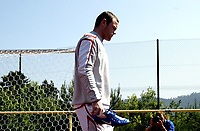 Photo: Chris Ratcliffe.<br />England Training Session. FIFA World Cup 2006. 13/06/2006.<br />Wayne Rooney arrives for training.