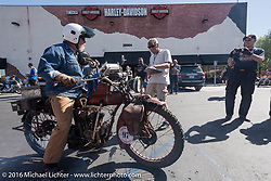 Kevin Naser of Nebraska on his 1916 Indian as he arrives at the hosted lunch stop at Temecula Harley-Davidson on the last day of the Motorcycle Cannonball Race of the Century. Stage-15 ride from Palm Desert, CA to Carlsbad, CA. USA. Sunday September 25, 2016. Photography ©2016 Michael Lichter.
