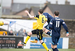 Forfar Athletic's James Lister scoring their goal. first half : Forfar Athletic 1 v 0 Edinburgh City, Scottish Football League Division Two played 11/3/2017 at Station Park.