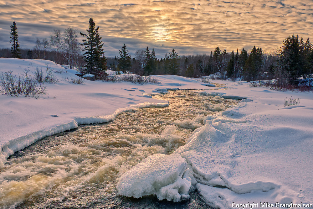 Sunrise over the Pinawa River. <br />Pinawa Provincial Park<br />Manitoba<br />Canada