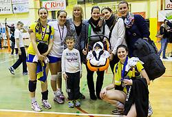 Players of Luka Koper with fans after the volleyball match between Nova KBM Branik Maribor and OK Luka Koper in Final of Women Slovenian Cup 2014/15, on January 18, 2015 in Sempeter v Savinjski dolini, Slovenia. Photo by Vid Ponikvar / Sportida