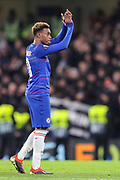 Chelsea midfielder Callum Hudson-Odoi (20) applauds the home fans after the Champions League group stage match between Chelsea and PAOK Salonica at Stamford Bridge, London, England on 29 November 2018.