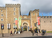 Walls and entrance doorway gateway into Cardiff Castle, Cardiff, South Wales, UK