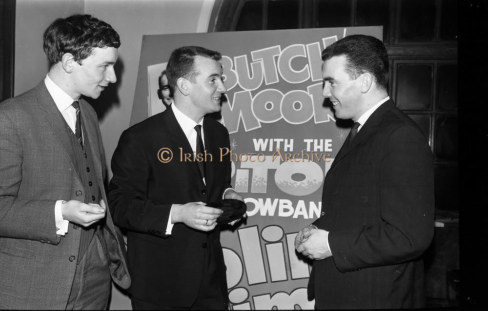 03/02/1964<br /> 02/03/1964<br /> 03 February 1964 <br /> Capitol Show Band and Pye Records reception for single 'Foolin' Time' at Country Club Portmarnock. Phil Coulter; Butch Moore and Des Kelly with the single 'Foolin' Time'.
