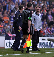 Photo: Greig Cowie<br />CIS Scottish Cup Final. Celtic v Rangers. Hampden Park Glasgow. 16/03/2003<br />Martin O'neill lays into the linesman after John Hartsons disallowed goal