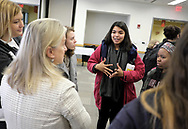 Susan Wild, Democratic candidate for Pennsylvania's new 7th Congressional District, speaks to students during a 'Meet the Ticket' event featuring Democratic and Republican candidates Oct. 26, 2018, at Muhlenberg College in Allentown, Pennsylvania.