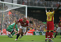 Photo: Lee Earle.<br /> Watford v Manchester United. The Barclays Premiership. 26/08/2006. United's Mikael Silvestre turns away after scoring their opening goal.