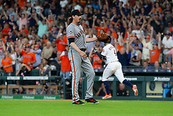 May 23, 2018 - Houston, TX, U.S. - HOUSTON, TX - MAY 23: San Francisco Giants starting pitcher Jeff Samardzija (29) looks on after Houston Astros right fielder George Springer (4) hits a two-run homer in the fifth inning during MLB baseball game between the Houston Astros and the San Francisco Giants on May 23, 2018 at Minute Maid Park in Houston, Texas. (Photo by Juan DeLeon/Icon Sportswire) (Credit Image: © Juan Deleon/Icon SMI via ZUMA Press)