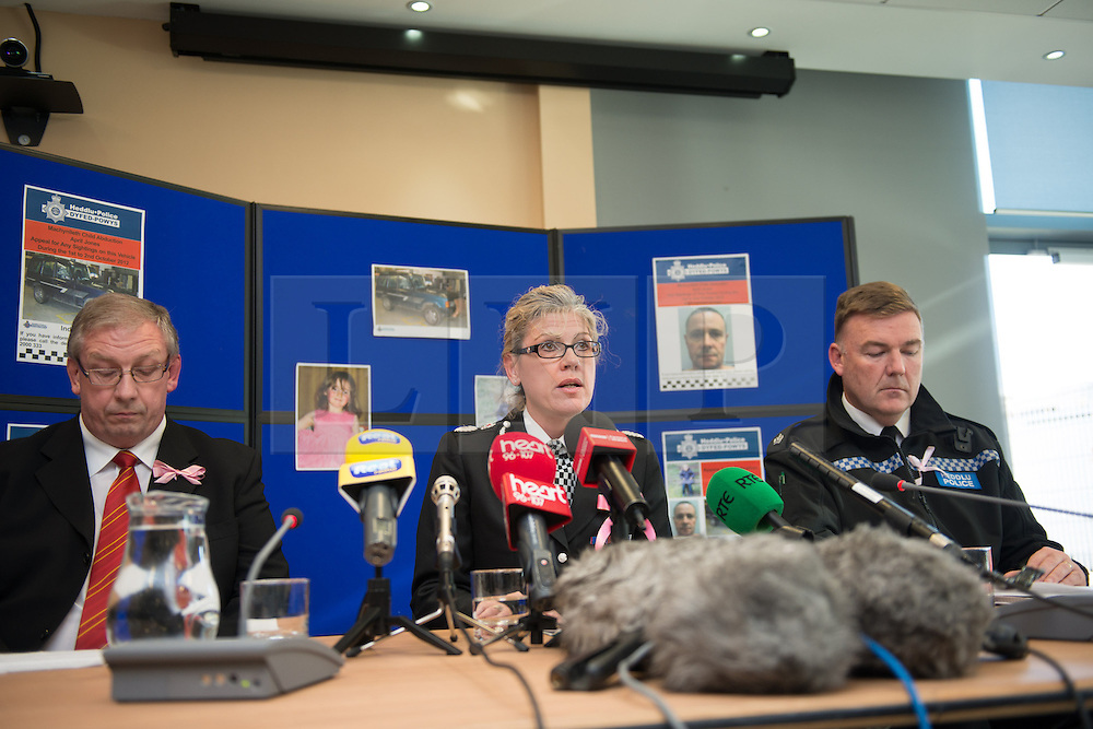 © Licensed to London News Pictures. 06/10/2012. Aberystwyth Wales UK. (L-R) IWAN JENKINS,  District Crown Prosecutor of the Crown Prosecution Service Cymru Wales and JACKIE ROBERTS, Chief Constable Dyfed Pows Police. Superintendant IAN JOHN, Area CommanderDyfed Powys Police. At a press conference this afternoon 6th October 2012. IWAN JENKINS announced that 46 year old MARK BRIDGER would be charged with MURDER, CHILD ABDUCTION and PERVERTING THE COURSE OF JUSTICE, in relation to the disappearance of 5 year old APRIL JOINES. Photo credit: Keith Morris/LNP