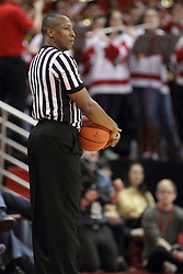 17 January 2015:   Referee Roland Simmons during an NCAA MVC (Missouri Valley Conference men's basketball game between the Bradley Braves and the Illinois State Redbirds at Redbird Arena in Normal Illinois
