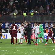 Galatasaray's Coach Hamza Hamzaoglu (C) during their Turkish SuperLeague Derby match Trabzonspor between Galatasaray at the Avni Aker Stadium at Trabzon Turkey on Sunday, 19 April 2015. Photo by TVPN/TURKPIX