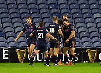 Rugby Union - 2020 / 2021 Guinness Pro-14 - Edinburgh vs Glasgow Warriors - Murrayfield<br /> <br /> Magnus Bradbury of Edinburgh Rugby celebrates scoring a try to make it 8-0<br /> <br /> COLORSPORT/BRUCE WHITE