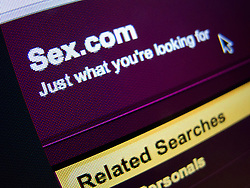 Detail of pornographic website of sex.com homepage screen shot