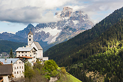 The mountain village of Selva di Cadore, high in the Dolomite Mountains of the Italian Alps