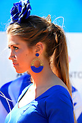 Seville. Andalusia. SPAIN.   Medal Ceremonies, Presentation Girls, Traditional Dresses Medal and Flower Holders.  2013 FISA European Rowing Championship.  Guadalquivir River.  Sunday  02/06/2013.  [Mandatory Credit. Peter Spurrier/Intersport]