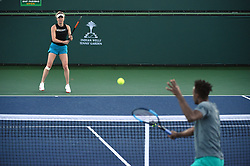Gael Monfils (FRA) warming up with his girlfriend Elina Svitolina (UKR) before he has to withdraw from hisquarter final round match against Dominic Thiem (AUT) at the 2018 Indian Wells Masters 1000 at Indian Wells Tennis Garden, California, USA, on March, 14, 2019. Photo by Corinne Dubreuil/ABACAPRESS.COM