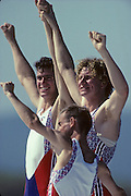 Barcelona, SPAIN. Gold Medalist, GBR M2+, Bow Jonny SEARLE and Greg SEARLE, cox, Gary HERBERT.  Celebrate on the awards dock. 1992 Olympic Rowing Regatta Lake Banyoles, Catalonia [Mandatory Credit Peter Spurrier/ Intersport Images] Last time Men's coxed pair raced at the Olympics