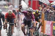 Arrival sprint Elia Viviani (ITA - QuickStep - Floors) celebration during the 101th Tour of Italy, Giro d'Italia 2018, stage 17, Riva del Garda - Iseo 155 km on May 23, 2018 in Italy - Photo Roberto Bettini / BettiniPhoto / ProSportsImages / DPPI