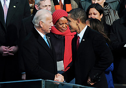 """File photo dated January 20, 2009 of U.S. President Barack Obama and Vice President Joe Biden shake hands after taking the Oath of Office from Supreme Court Chief Justice John Roberts to become the 44th U.S. President and the first African-American elected, during the Inauguration ceremonies on Capitol Hill in Washington, D.C., USA. Former President Barack Obama endorsed Joe Biden, his two-term vice president, on Tuesday morning in the race for the White House. """"Choosing Joe to be my vice president was one of the best decisions I ever made, and he became a close friend. And I believe Joe has all the qualities we need in a president right now,"""" Obama said in a video posted to Twitter. Photo by Douliery/Hahn/ABACAPRESS.COM"""