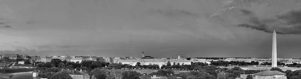 Panoramic View of Washington, DC.  Includes The Capitol, Washington Monument, Smithsonian Mall, The White House, among other Washington, DC landmarks and Washington, DC Monuments. Print Sizes (inches): 15x4; 24x6.5; 36x10; 48x13; 60x16; 72x19