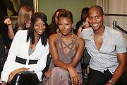 """l to r: La Rivers, Eva Marcille, and Nathan Hale Williams at b.michael America Spring 2010 Collection """" Advanced American Style """" held at Christie's in Rockefeller Plaza on September 16, 2009 in New York City."""