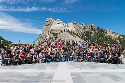 Mayors Ride participants at Mount Rushmore during the annual Sturgis Black Hills Motorcycle Rally.  SD, USA.  August 8, 2016.  Photography ©2016 Michael Lichter.