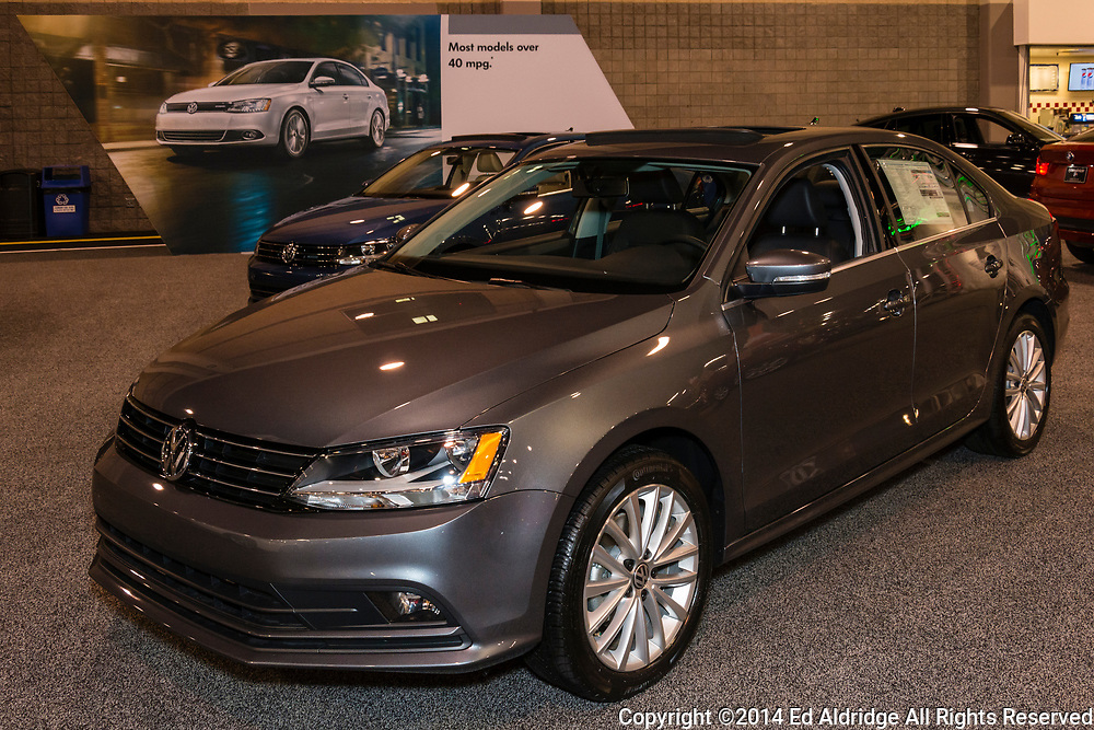 CHARLOTTE, NORTH CAROLINA - NOVEMBER 20, 2014: Volkswagen Jetta on display during the 2014 Charlotte International Auto Show at the Charlotte Convention Center.
