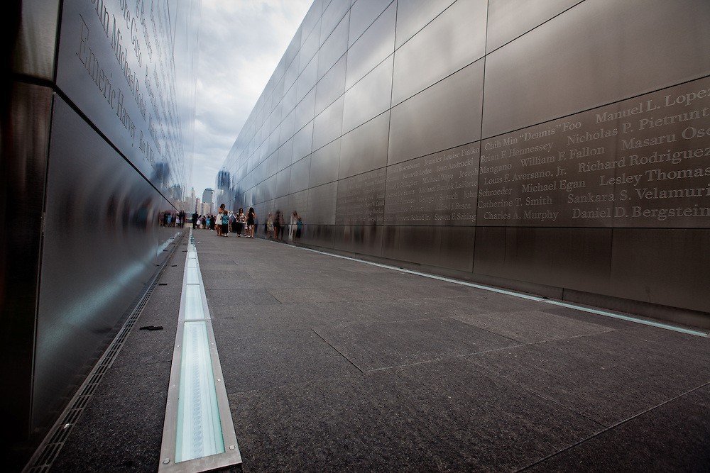 The Empty Sky Memorial 9/11 Memorial at Liberty State Park in New Jersey  by  the Architect  Frederic Schwartz opens on September 10th 2011 for the tenth anniversary of 9/11.<br /> The memorial is two 30-Ft rectangular towers  208 feet by 10 inches long,  the width of the World Trade Center towers and with the names of the 746 New Jerseyans who perished after the terrorist attacks on 9/11, 2001  etched in stainless steel.