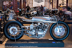 Max Hazan's Harley-Davidson Ironhead supercharged Sportster on Sunday at the Handbuilt Motorcycle Show. Austin, TX. April 12, 2015.  Photography ©2015 Michael Lichter.
