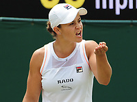 Tennis - 2019 Wimbledon Championships - Week Two, Monday (Day Seven)<br /> <br /> Women's Singles, Fourth Round: Ashleigh Barty (AUS) v Alison Riske (USA)<br /> <br />  Ashleigh Barty gets angry after losing her serve in the third set, on Court 2.<br /> <br /> COLORSPORT/ANDREW COWIE
