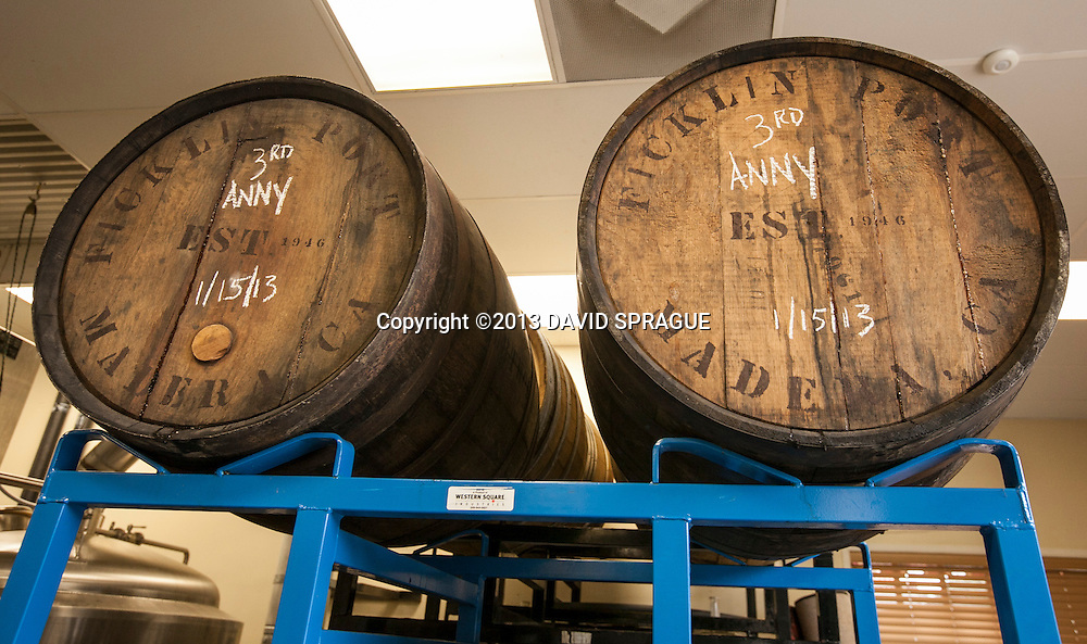 Third Anniversary beer being aged in barrels at LadyFace Ale Companie in Agoura Hills, CA. Shot Feb. 5th,  2013 Photo by David Sprague ©2013