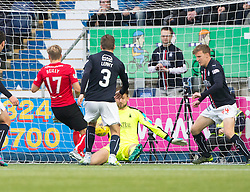 Falkirk's keeper Danny Rogers saves from Dunfermline's Gavin Reilly. Falkirk 2 v 1 Dunfermline, Scottish Championship game played 15/10/2016, at The Falkirk Stadium.