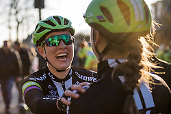 Molly Weaver is pretty excited about the news of Leah Kirchmann's win - Drentse 8, a 140km road race starting and finishing in Dwingeloo, on March 13, 2016 in Drenthe, Netherlands.