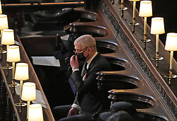 Queen Elizabeth II and The Duke of York during the funeral of the Duke of Edinburgh in St George's Chapel, Windsor Castle, Berkshire. Picture date: Saturday April 17, 2021.