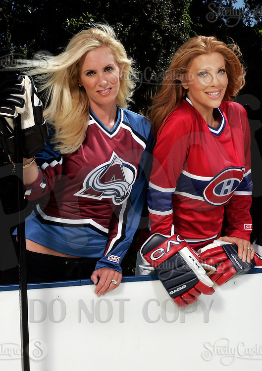 22 June 2005:  Brandy Blake, wife of Rob Blake Colorado Avalanche, Angelica Bridges wife of Sheldon Souray of the Montreal Canadiens,  during The Not So Desperate, Desperate Housewives shoot on location in Los Angeles with NHL hockey players wives for Editorial Use Only!  Mandatory Credit:  Shelly Castellano.com or Price Doubles. .