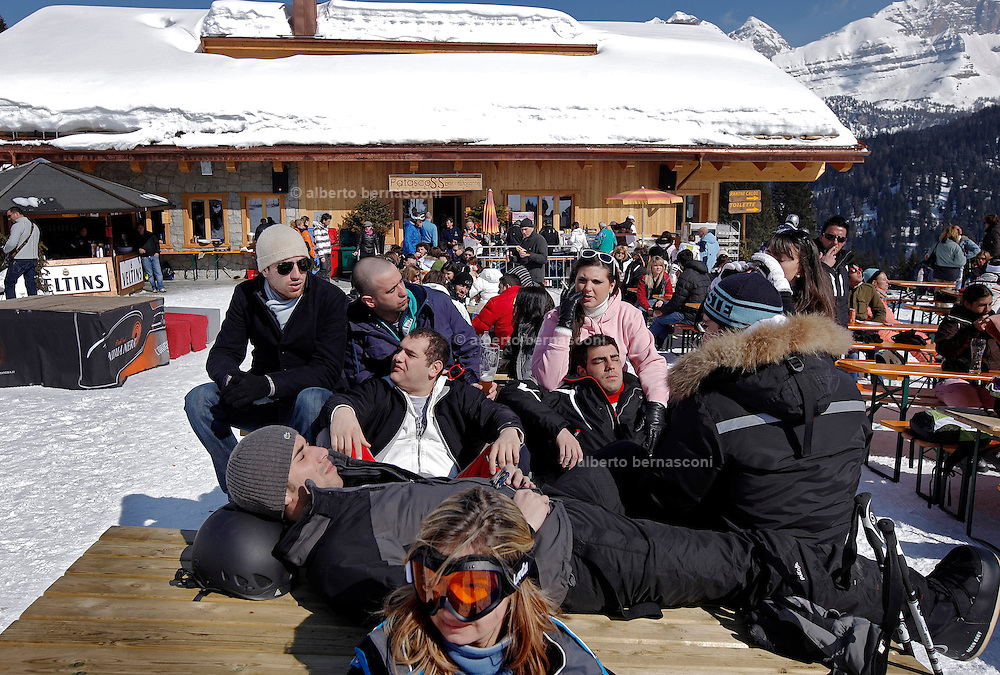 Italy, Madonna di Campiglio, after lunch at Patascoss refuge
